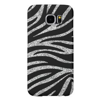 Charming Black Zebra Print Silver Glitter Sparkles Samsung Galaxy S6 Case