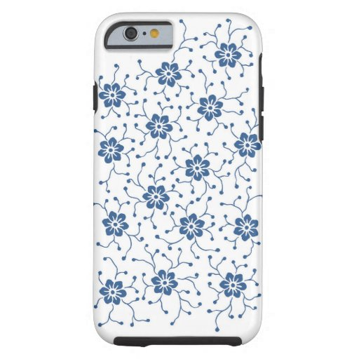 Charming blue anemone flowers and pods tough iPhone 6 case