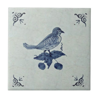 Charming Blue Bird Delft Tile Antique Reproduction