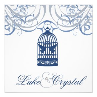 Charming Blue Birdcage Wedding Invitation