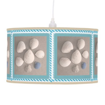 Charming Blue Green Framed Seashell Pendant Lamp