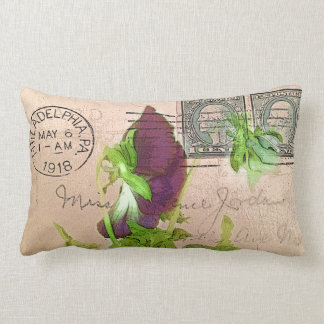 Charming Boho Vintage Retro Pansy Postcard Lumbar Pillow