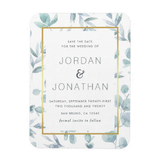 Charming Botanical Watercolor Leaves Save The Date Magnet