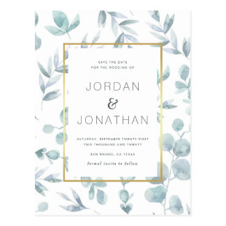Charming Botanical Watercolor Leaves Save The Date Postcard