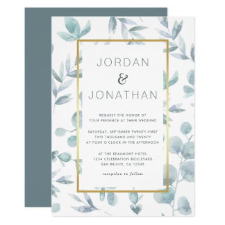 Charming Botanical Watercolor Leaves Wedding Card