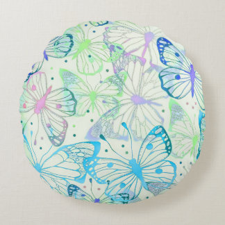 Charming Butterfly Pattern Round Pillow
