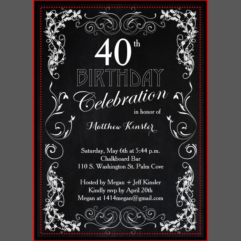 Th Birthday Invitations Uk - 40th birthday invitation uk