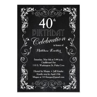 Charming Chalkboard 40th Birthday Party Invitation