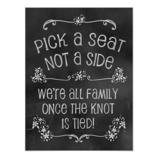 Charming Chalkboard Wedding Sign-Pick A Seat Posters