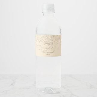 Charming Champagne Glitter Water Bottle Label