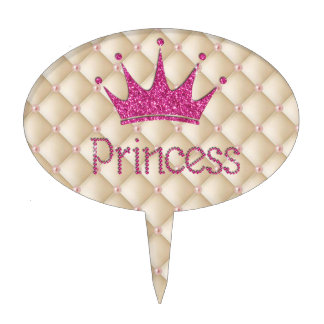 Charming Chic Pearls ,Tiara, Princess,Glittery Cake Topper