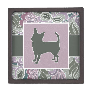Charming Chihuahua in Sage Blush Garden Pattern, Jewelry Box