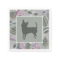 Charming Chihuahua in Sage Blush Garden Pattern, Paper Napkin
