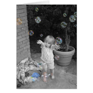 Charming child with bubbles card