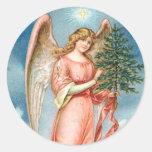 Charming Christmas Angel Classic Round Sticker