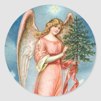 Charming Christmas Angel Classic Round Sticker