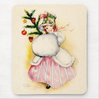 Charming Christmas Girl Mouse Pad