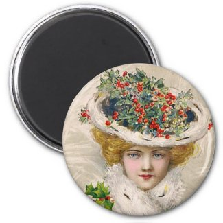 Charming Christmas Lady magnet