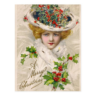 Charming Christmas Lady Postcard