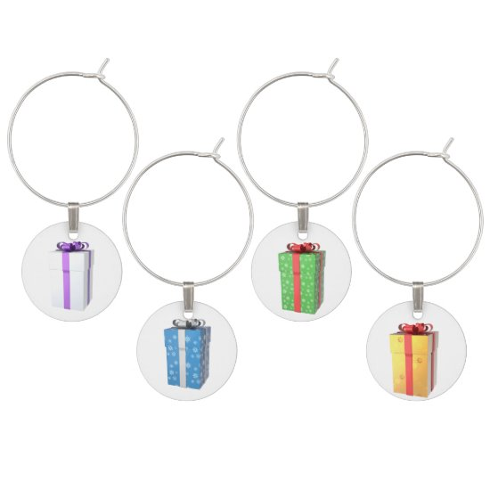 Charming Christmas Packages Wine Charms