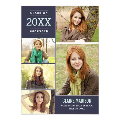 Charming Collage EDITABLE COLOR Graduation Card