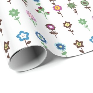 Charming Colorful Flowers pattern Illustration Wrapping Paper
