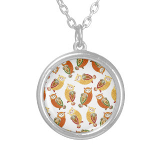 Charming, Cute owls in autumn colors Silver Plated Necklace