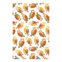 Charming, Cute owls in autumn colors Stationery