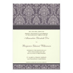 "Charming Damask 5x7 Wedding Invitation: plum 5"" X 7"" Invitation Card"