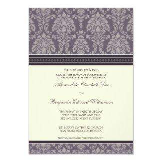 Charming Damask 5x7 Wedding Invitation: plum 5x7 Paper Invitation Card