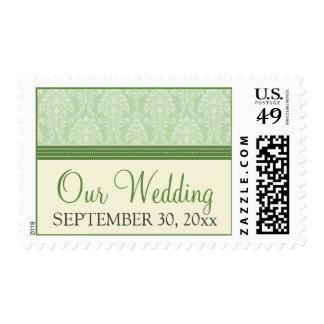 Charming Damask Custom Wedding Stamps: green Postage