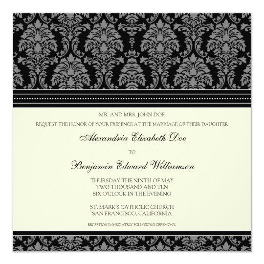 Charming Damask Square Wedding Invitation: black Card