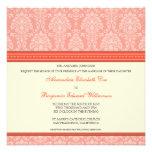 Charming Damask Square Wedding Invitation: coral