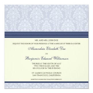 Charming Damask Square Wedding Invitation: navy Card
