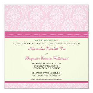 Charming Damask Square Wedding Invitation: pink Card