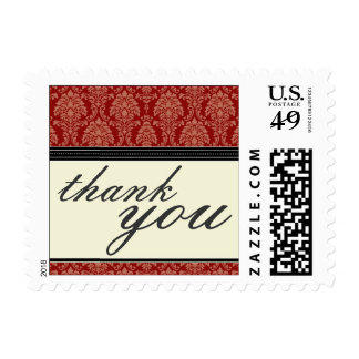 Charming Damask Thank You Stamps :: black/red