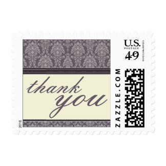 Charming Damask Thank You Stamps :: plum