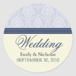 Charming Damask Wedding Invitation Seal (navy) Sticker
