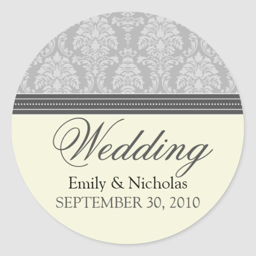 Charming Damask Wedding Invitation Seal Silver Stickers