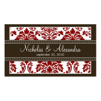 Charming Damask Wedding Web Business Card (red)