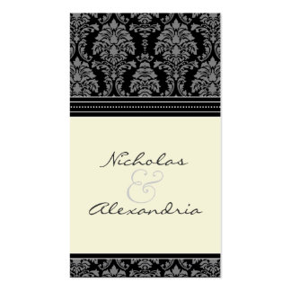 Charming Damask Wedding Web Card (black/ivory) Double-Sided Standard Business Cards (Pack Of 100)