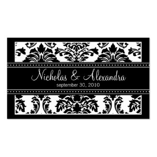 Charming Damask Wedding Web Card black white Business Card
