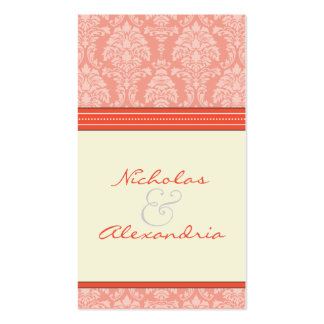 Charming Damask Wedding Web Card (coral/ivory) Double-Sided Standard Business Cards (Pack Of 100)