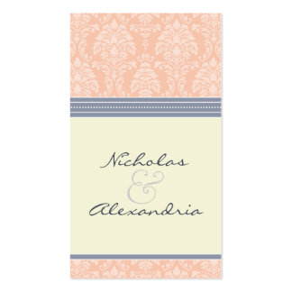 Charming Damask Wedding Web Card (pink/grey) Double-Sided Standard Business Cards (Pack Of 100)