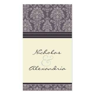 Charming Damask Wedding Web Card (plum/ivory) Double-Sided Standard Business Cards (Pack Of 100)