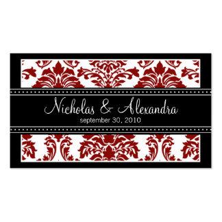 Charming Damask Wedding Web Card red black Business Card