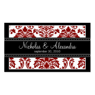 Charming Damask Wedding Web Card (red/black) Double-Sided Standard Business Cards (Pack Of 100)