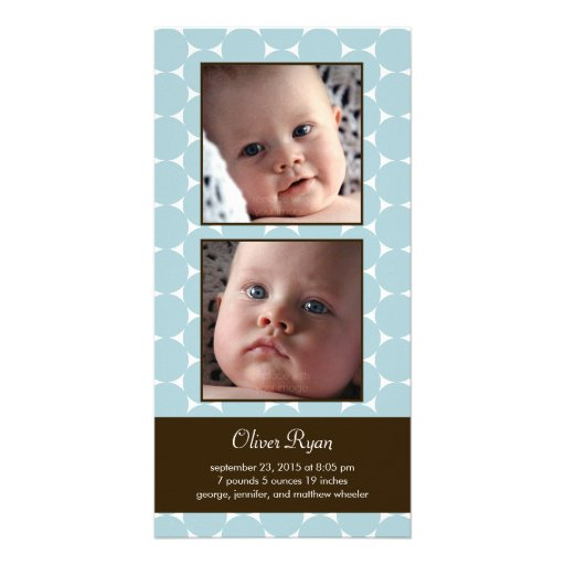 Charming Dots Baby Birth Announcement Custom Photo Card