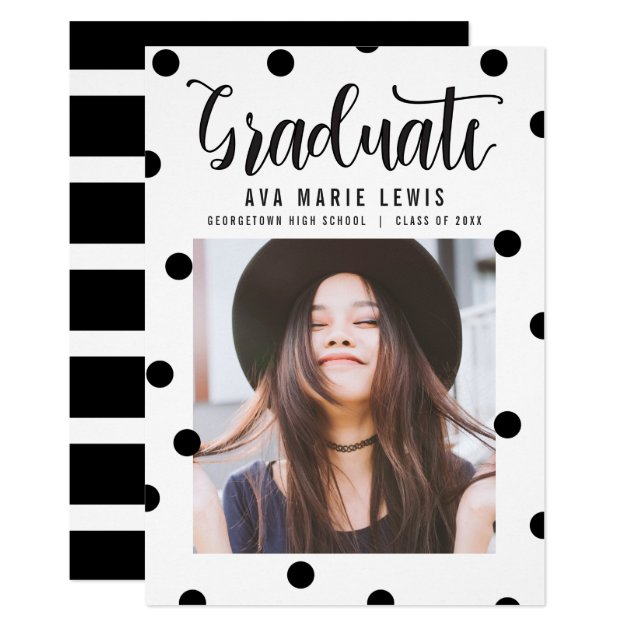 Charming Dots Black Graduation Announcement