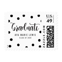 Charming Dots Black Graduation Postage